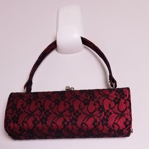 Red and black lace cocktail evening bag
